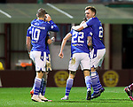 Motherwell v St Johnstone…28.11.20   Fir Park      BetFred Cup<br />Callum Hendry celebrates his goal with Liam Craig<br />Picture by Graeme Hart.<br />Copyright Perthshire Picture Agency<br />Tel: 01738 623350  Mobile: 07990 594431