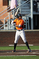 Randolph Gassaway (1) of the Frederick Keys at bat against the Buies Creek Astros at Jim Perry Stadium on April 28, 2018 in Buies Creek, North Carolina. The Astros defeated the Keys 9-4.  (Brian Westerholt/Four Seam Images)