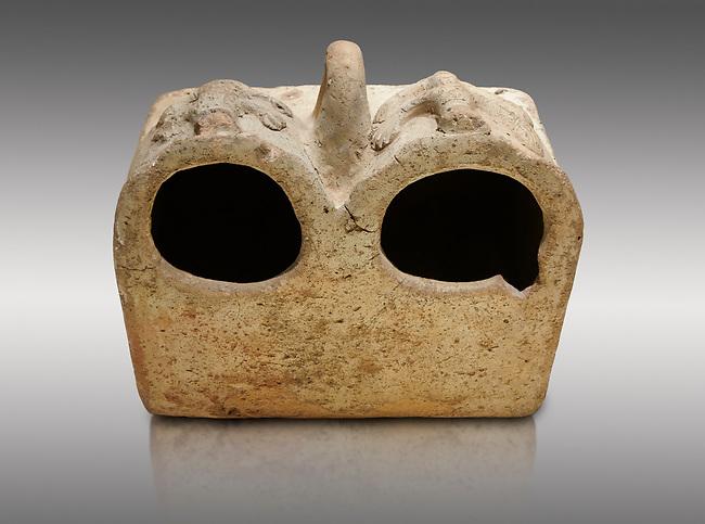 Bronze Age Anatolian terra cotta double boxes for storage - 19th to 17th century BC - Kültepe Kanesh - Museum of Anatolian Civilisations, Ankara, Turkey. Against a grey background.