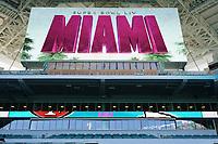 Innenraum des Hard Rock Stadium bei den Vorbereitungen auf den Super Bowl LIV am 2. Februar zwischen den Kansas City Chiefs und San Francisco 49ers - 22.01.2020: SB LIV im Hard Rock Stadium Miami