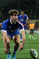 13th July 2021; AAMI Park, Melbourne, Victoria, Australia; International test rugby, Australia versus France; 12th July 2021; AAMI Park, Melbourne, Victoria, Australia; International test rugby, Australia versus France; Damian Penaud of France touches down for his try