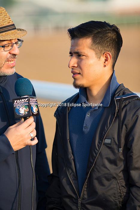 DUBAI,UNITED ARAB EMIRATES-MARCH 29: Mario Gutierrez,the jockey for Pavel (Dubai World Cup), is interviewed at Meydan Racecourse on March 29,2018 in Dubai,United Arab Emirates (Photo by Kaz Ishida/Eclipse Sportswire/Getty Images)