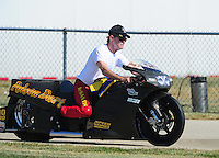 Jul, 9, 2011; Joliet, IL, USA: NHRA pro stock motorcycle rider Joey DeSantis during qualifying for the Route 66 Nationals at Route 66 Raceway. Mandatory Credit: Mark J. Rebilas-