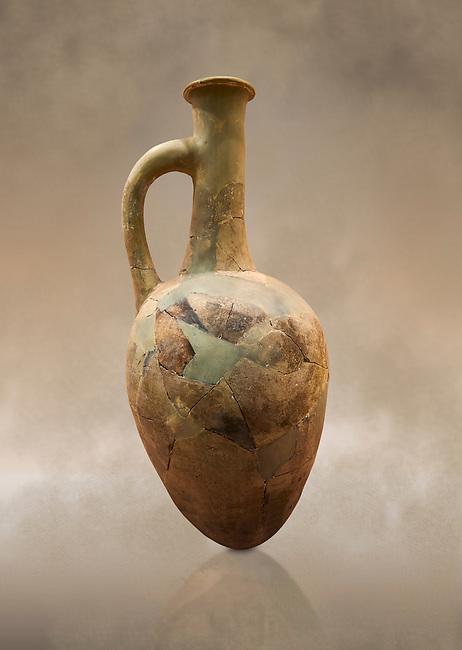 Hittite long neck pointed base terra cotta vessel. Hittite Old Period, 1650 - 1450 BC. Huseyindede. Çorum Archaeological Museum, Corum, Turkey. Against a warm art bacground.