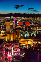 Las Vegas, Nevada.  View of Caesar's Palace and West Las Vegas from the High Roller, early evening.