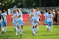 Sky Blue FC players warm up prior to the start of the match. Sky Blue FC defeated the Boston Breakers 2-1 during a Women's Professional Soccer match at Yurcak Field in Piscataway, NJ, on May 31, 2009.
