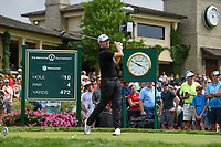 6th June 2021; Dublin, Ohio, USA; Patrick Cantlay (USA) watches his tee shot on 10 during the Memorial Tournament final round at Muirfield Village Golf Club