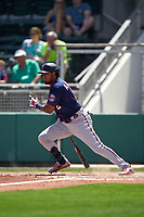 Minnesota Twins Luis Arraez (2) bats during a Major League Spring Training game against the Boston Red Sox on March 17, 2021 at JetBlue Park in Fort Myers, Florida.  (Mike Janes/Four Seam Images)