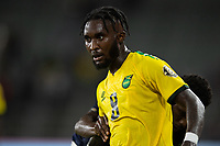 ORLANDO, FL - JULY 20: Oniel Fisher #8 of Jamaica battles for the ball during a game between Costa Rica and Jamaica at Exploria Stadium on July 20, 2021 in Orlando, Florida.