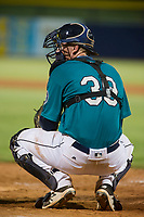 AZL Mariners catcher James Lovett (39) on defense against the AZL Royals on July 29, 2017 at Peoria Stadium in Peoria, Arizona. AZL Royals defeated the AZL Mariners 11-4. (Zachary Lucy/Four Seam Images)