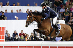August 08, 2009: Toni Hassman (GER) aboard Luxana H competing in the Puissance event. Land Rover International Puissance. Failte Ireland Horse Show. The RDS, Dublin, Ireland.
