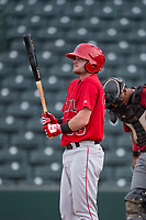 AZL Angels second baseman Justin Jones (88) at bat during the completion of a suspended Arizona League game against the AZL Diamondbacks at Tempe Diablo Stadium on July 16, 2018 in Tempe, Arizona. The game was a continuation of the July 11, 2018 contest that was suspended by rain in the middle of the eighth inning. The AZL Diamondbacks defeated the AZL Angels 12-8. (Zachary Lucy/Four Seam Images)