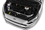 Car stock 2018 Ford S-Max Vignale Base 5 Door Mini Van engine high angle detail view