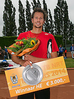 August 17, 2014, Netherlands, Raalte, TV Ramele, Tennis, National Championships, NRTK, Mens Final : prize giving, Jasper Smit (NED) winner,  with the trophy<br /> Photo: Tennisimages/Henk Koster