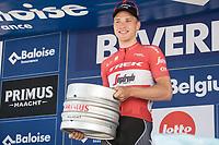 Stage winner Matthias Brandle (AUT/Trek-Segafredo) receiving a Belgium Beer  Barrel . <br /> <br /> Baloise Belgium Tour 2017<br /> Stage 3: ITT Beveren - Beveren (13.4km)