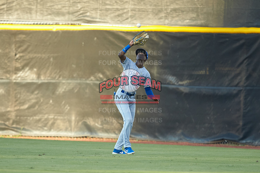 Burlington Royals right fielder Diego Hernandez (4) catches a fly ball during the game against the Pulaski Yankees at Calfee Park on August 31, 2019 in Pulaski, Virginia. The Yankees defeated the Royals 6-0. (Brian Westerholt/Four Seam Images)