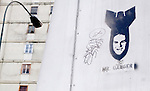 A graffiti with United State's president Goerge Bush depicted as a bomb is seen during music class in a cultural centre sponsored by the government in Caracas, Venezuela, on Saturday, Jun. 21, 2006. (ALTERPHOTOS/Alvaro Hernandez)