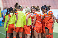 Houston, TX - Saturday May 13, Houston Dash midfielder Morgan Brian (6) and teammates huddle up prior to the 2nd half of a regular season National Women's Soccer League (NWSL) match between the Houston Dash and Sky Blue FC at BBVA Compass Stadium. Sky Blue won the game 3-1.