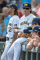 Michigan Wolverines outfielder Jesse Franklin (7) before Game 2 of the NCAA College World Series Finals on June 25, 2019 at TD Ameritrade Park in Omaha, Nebraska. Vanderbilt defeated Michigan 4-1. (Andrew Woolley/Four Seam Images)