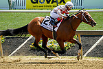 May 15, 2021: Mighty Mischief, #2, ridden by Ricardo Santana Jr. wins the Chick Lang Stakes on Preakness Stakes Day at Pimlico Race Course in Baltimore, Maryland. Scott Serio/Eclipse Sportswire/CSM