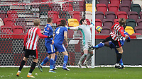 Mads Bech Sorensen scores Brentford's opening goal during Brentford vs Leicester City, Emirates FA Cup Football at the Brentford Community Stadium on 24th January 2021