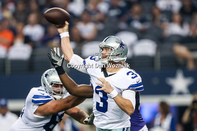 Dallas Cowboys quarterback Brandon Weeden (3) in action during the pre-season game between the Baltimore Ravens and the Dallas Cowboys at the AT & T stadium in Arlington, Texas. The Ravens lead Dallas 24 to 10 at half time.