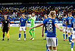 St Johnstone v Galatasaray…12.08.21  McDiarmid Park Europa League Qualifier<br />Jason Kerr and Zander Clark line up before kick off with heir team mates<br />Picture by Graeme Hart.<br />Copyright Perthshire Picture Agency<br />Tel: 01738 623350  Mobile: 07990 594431