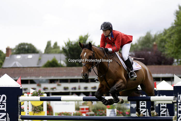 August 09, 2009: Beezie Madden (USA) aboard Danny Boy competing in the Grand Prix event. Longines International Grand Prix. Failte Ireland Horse Show. The RDS, Dublin, Ireland.