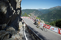 former teammates & friends, now rivals Chris Froome (GBR/Team SKY) & Richie Porte (AUS/BMC) are the first of the overall contenders to come around the final bend<br /> <br /> stage 17: Bern (SUI) - Finhaut-Emosson (SUI) 184.5km<br /> 103rd Tour de France 2016
