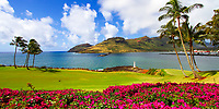 Colorful panorama on Kalapaki Bay and Kukii Point lighthouse on black lava, with beautiful palm trees and green and pink flowers, Kauai Island, Hawaii