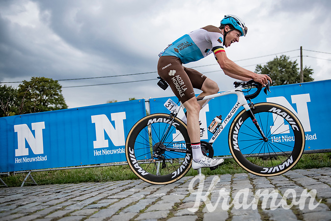 Oliver Naesen (BEL/AG2R-LaMondiale) up the Paterberg<br /> <br /> 104th Ronde van Vlaanderen 2020 (1.UWT)<br /> 1 day race from Antwerpen to Oudenaarde (BEL/243km) <br /> <br /> ©kramon