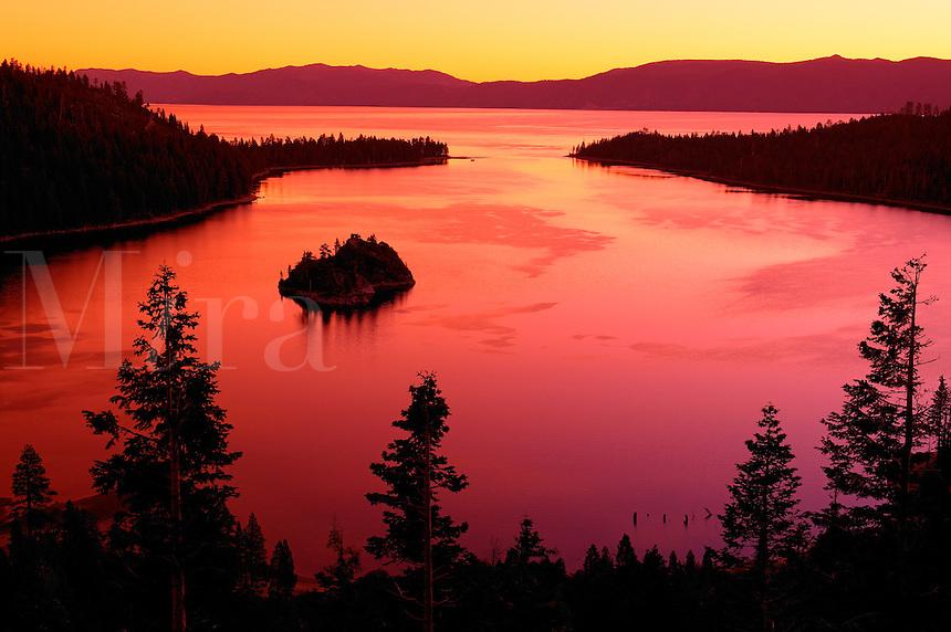 Emerald Bay at sunrise looking towards Nevada, Lake Tahoe, California.