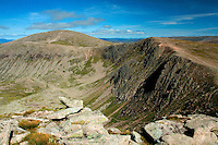 Coire an t-Sneachda, The Northern Corries and Cairn Gorm from Fiacaill Buttress, Cairngorm National Park, Badenoch and Speyside, Highland