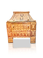 Minoan  pottery gabled larnax coffin chest with double axe and papyrus decorations,  Anthanatoi 1370-1250 BC, Heraklion Archaeological  Museum, white background.