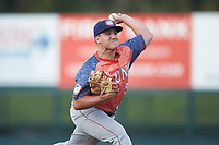 Hagerstown Suns starting pitcher Nick Raquet (32) in action against the Kannapolis Intimidators at Kannapolis Intimidators Stadium on May 4, 2018 in Kannapolis, North Carolina.  The Intimidators defeated the Suns 11-0.  (Brian Westerholt/Four Seam Images)