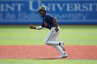 Khalil Watson (5) of Wake Forest High School (NC) playing for the Atlanta Braves scout team takes off for second base during game four of the South Atlantic Border Battle at Truist Point on September 27, 2020 in High Pont, NC. (Brian Westerholt/Four Seam Images)