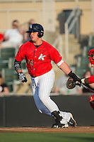 Corey Zangari (14) of the Kannapolis Intimidators follows through on his swing against the Lakewood BlueClaws at Kannapolis Intimidators Stadium on May 7, 2016 in Kannapolis, North Carolina.  The Intimidators defeated the BlueClaws 12-3.  (Brian Westerholt/Four Seam Images)