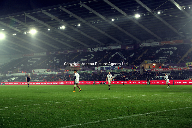 Interior view of the stadium during the Anglo-Welsh Cup match between Ospreys and Wasps at The Liberty Stadium, Swansea, Wales, UK. Friday 10 November 2017