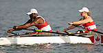 Wilfredo More Wilson (left) of Toronto and Caitlin Renneson of Ottawa in mixed double sculls rowing action at the Paralympic Games in Beijing,Wednesday, Sept., 10, 2008.  Photo by Mike Ridewood/CPC