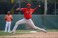 Boston Red Sox pitcher Yoan Aybar (32) during a Minor League Spring Training game against the Baltimore Orioles on March 20, 2019 at the Buck O'Neil Baseball Complex in Sarasota, Florida.  (Mike Janes/Four Seam Images)