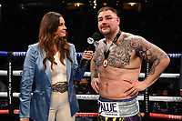 CARSON, CA - MAY 1: Fox Sports reporter Heidi Androl interviews Andy Ruiz Jr. after he defeated Chris Arreola on the Fox Sports PBC Pay-Per-View fight on May 1, 2021 at Dignity Health Sports Park in Carson, CA. (Photo by Frank Micelotta/Fox Sports/PictureGroup)