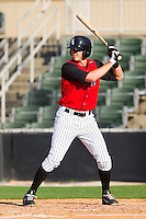 Ryan Hamme #14 of the Kannapolis Intimidators at bat against the Hickory Crawdads at Fieldcrest Cannon Stadium on April 17, 2011 in Kannapolis, North Carolina.   Photo by Brian Westerholt / Four Seam Images