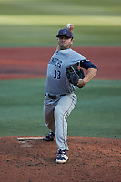 Old Dominion Monarchs starting pitcher Hunter Gregory (33) in action against the Charlotte 49ers at Hayes Stadium on April 23, 2021 in Charlotte, North Carolina. (Brian Westerholt/Four Seam Images)