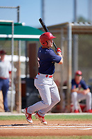 GCL Cardinals second baseman Josh Shaw (5) follows through on a swing during a game against the GCL Marlins on August 4, 2018 at Roger Dean Chevrolet Stadium in Jupiter, Florida.  GCL Marlins defeated GCL Cardinals 6-3.  (Mike Janes/Four Seam Images)