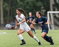 NEWTON, MA - AUGUST 29: Sonia Walk #5 of Boston College controls the ball as Isabelle Lynch #22 of University of Connecticut closes during a game between University of Connecticut and Boston College at Newton Campus Soccer Field on August 29, 2021 in Newton, Massachusetts.