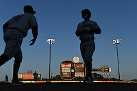Omaha Storm Chasers players in between innings during the first game of a double header against the Nashville Sounds on May 21, 2014 at Herschel Greer Stadium in Nashville, Tennessee.  Nashville defeated Omaha 5-4.  (Mike Janes/Four Seam Images)
