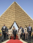 FILE PHOTO: A handout picture released by the Egyptian presidency shows Egypt's President Mohamed Morsi, Defence Minister Abdel Fattah al-Sissi and Egyptian Army Chief of Staff Major General Sedki Sobhi leaving after laying wreaths at the tomb of former President Anwar al-Sadat and the Tomb of the Unknown Soldier during the commemoration of Sinai Liberation Day in Cairo on April 24, 2013. Former President Mohamed Morsi died on Monday in court after the conclusion of a trial session in the espionage lawsuit, Egyptian state TV said. Photo by Tareq Gabas