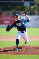 GCL Rays pitcher Jim Patterson (48) delivers a pitch during the first game of a doubleheader against the GCL Red Sox on August 4, 2015 at Charlotte Sports Park in Port Charlotte, Florida.  GCL Red Sox defeated the GCL Rays 10-2.  (Mike Janes/Four Seam Images)