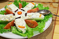 Cucumbers and tomatoes with yoghurt with herbs and garlic Efendi Efendy traditional Turkish and Ottoman Restaurant, The Block, Tirana. Albania, Balkan, Europe.
