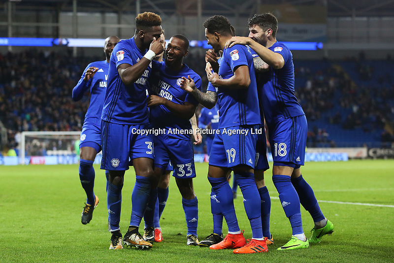 Omar Bogle of Cardiff City celebrates scoring his sides second goal of the match  during the Sky Bet Championship match between Cardiff City and Ipswich Town at The Cardiff City Stadium, Cardiff, Wales, UK. Tuesday 31 October 2017